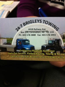 "I have been referring to Dale of 24-7 Brigleys Towing as ""Patron Saint of Stranded Alberta Authors."""