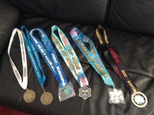 Hypo Half finisher medals: 2010-2015