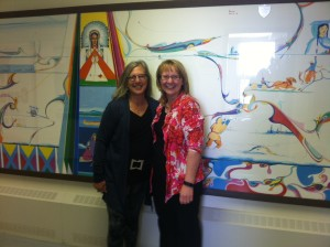 My tour partner, Gail de Vos, with Le Goff principal Mary Anne Bushore
