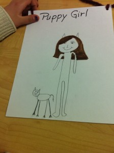 The newly-caped Puppy Girl from Le Goff School clearly shares my dog-loving sentiments.