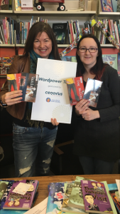 Pre-tour prep: picking up my signs at the YABS office with Jenn Plamondon. Very generous of Cenovus Energy to buy copies of our books for the schools involved in the tour.